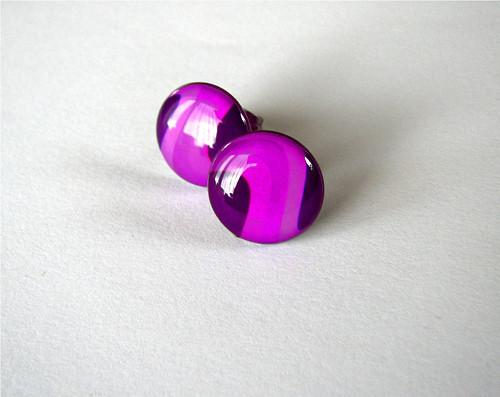 Růžovo-fialové...14mm ... ocel pro alergiky