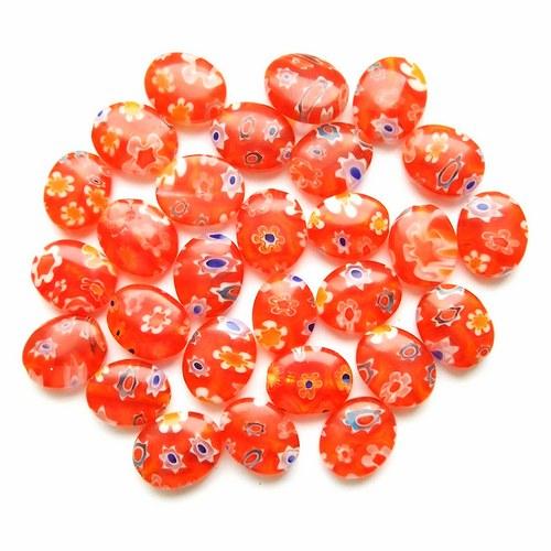 Millefiori oválky oranžové 4 ks