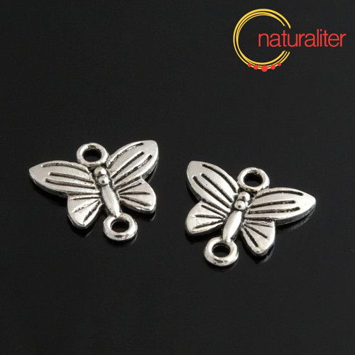 Motýl - propojovací díl, starostříbro 14x14mm, 4ks