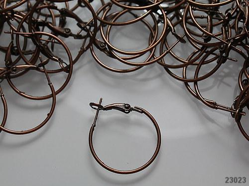 23023 Náušnice kroužky 25mm měď,  bal. 4ks