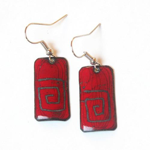 Červené s labyrinty - smaltované náušnice