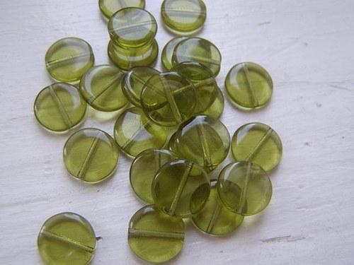 korálky mačkané placka zelená 10g