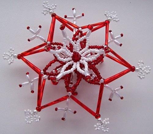 Vánoční 3D hvězda červeno-bílá