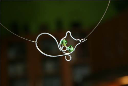 KOČIČKA - náhrdelník - Swarovski- chirurgická ocel