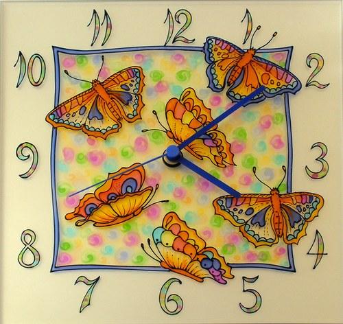 Motýlci - hodiny čtvercové 25cm