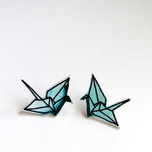 Náušnice: Origami jeřábi akvarel zelení
