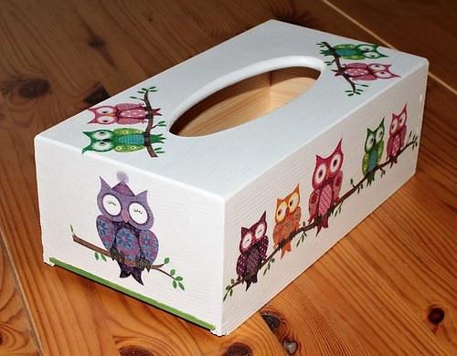 Sova k sově sedá - krabička na kapesníky model 1