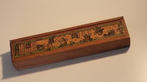 Starožitné domino se skřítky dřevěné