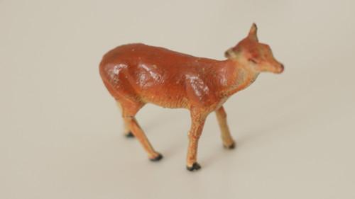 Starožitná hračka, hliněná zvířata Srnka