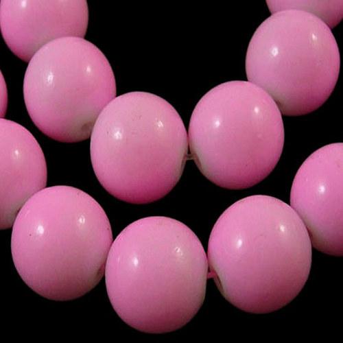 skleněné korálky LESK/ růžová světlá / 8mm/14ks