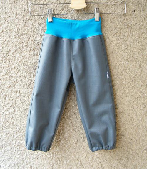 Softshellové kalhoty ŠEDÉ + TYRKYS  80/86