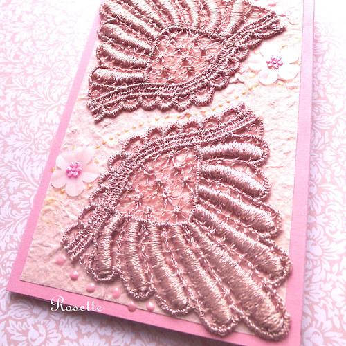 Andělé s růžovými křídly...  -  přání s krajkami