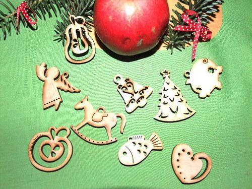 Vánoční dřevěné ozdoby FIGURKY- 9 druhů-S/SADA