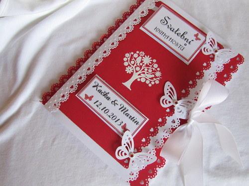 Svatební kniha hostů-butterfly, červená 2.