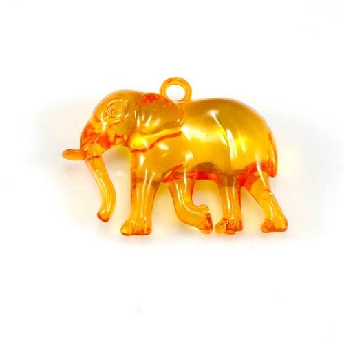 Oranžový slon - plastový přívěsek, 32x26 mm