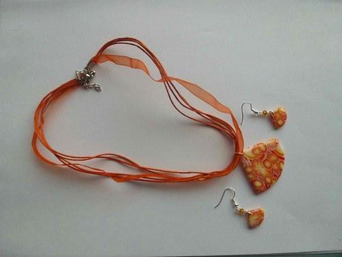 žluto-oranžovo-červená sada - náhrdelník, náušnice