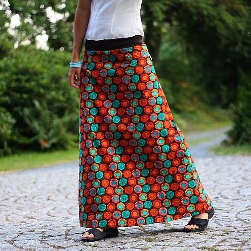 Dlouhá sukně Oranžové gerbery (možno i těhu)