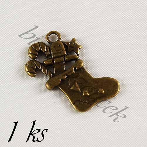 Vánoční punčocha bronzové barvy - 1ks