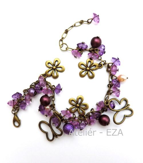 Náramek s motýly - fialový SLEVA z 279,- na 179,-
