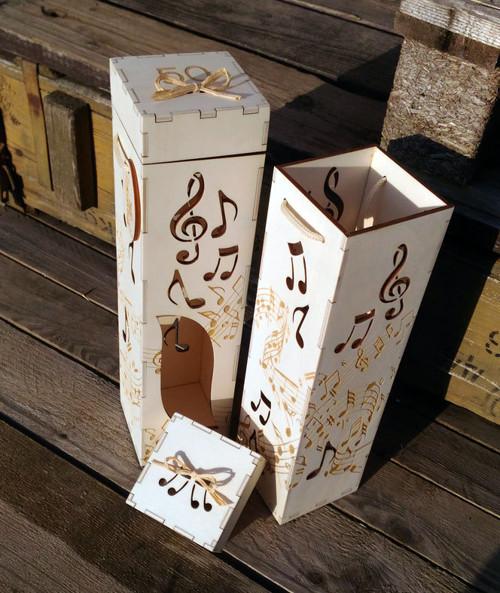Originální dárková krabice na víno - hudba