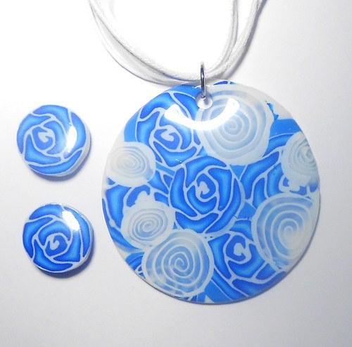 fimo sada modrobílé růže - pryskyřice