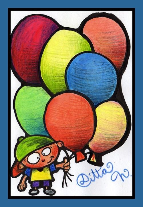 kluk s balónkama