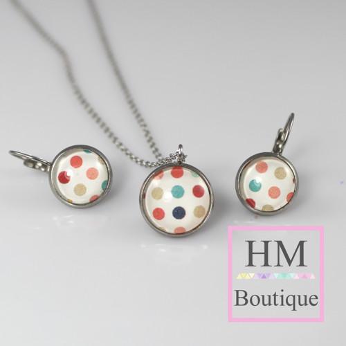 ocelový set -náušnice a náhrdelník tečkovaný