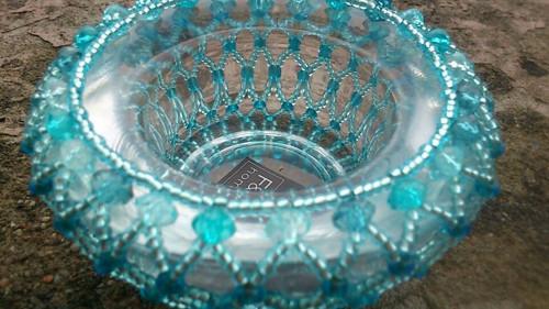 Korálkový svícinek v modré č 2
