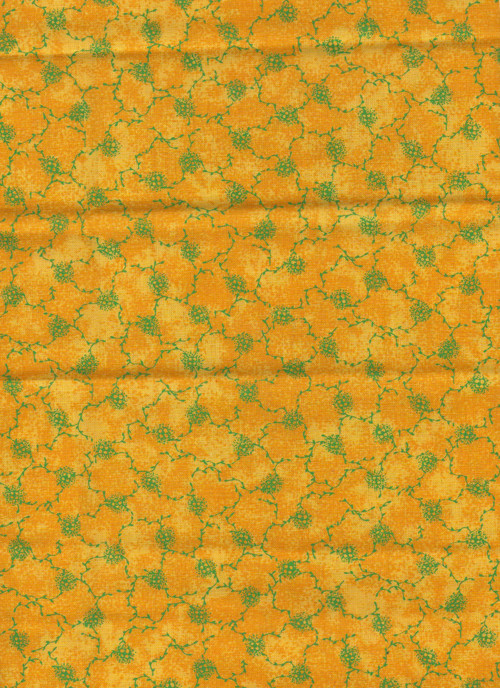 Látka s motivem, zelená větvička s kytkou na žluté