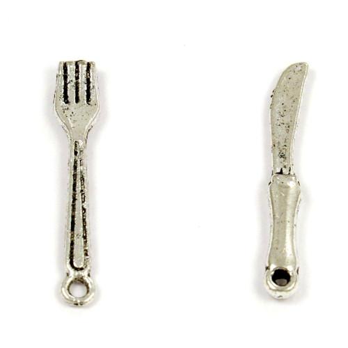 Dva přívěsky - příbor (vidlička a nůž), 2 páry