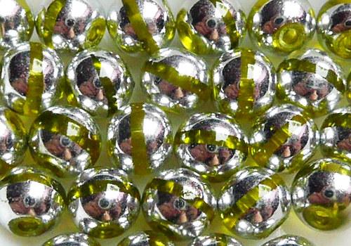 Skleněné korálky s proužkem 6 mm - žlutá / 10 ks