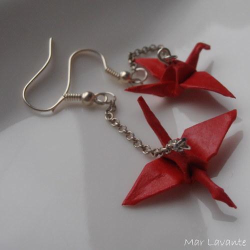Origami náušnice papíroví ptáčci na řetízku červen