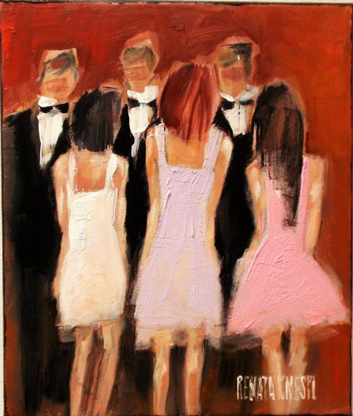 Vzpomínka na první taneční.  akryl pasty