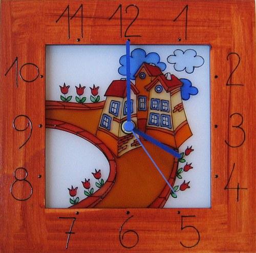Cesta s domy - hodiny v rámu 25cm