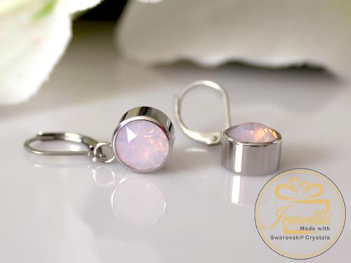 Ocelové náušnice Swarovski - Rose Water Opal