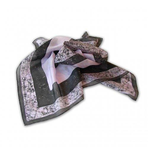 Fialovo-černý hedvábný šátek