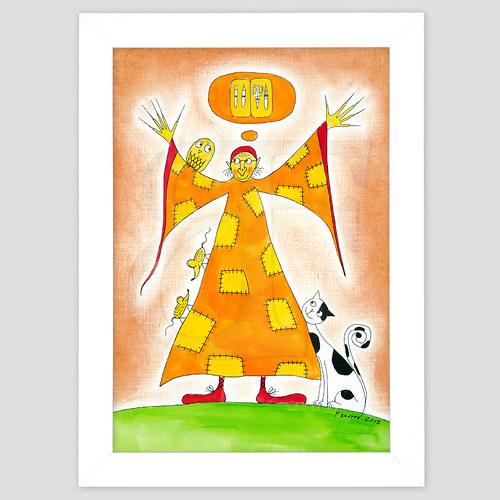 Ježibabka - hygiena - malovaný obrázek A4 v rámu