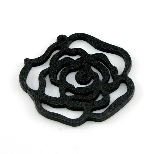 Dřevěný přívěsek - černá růže