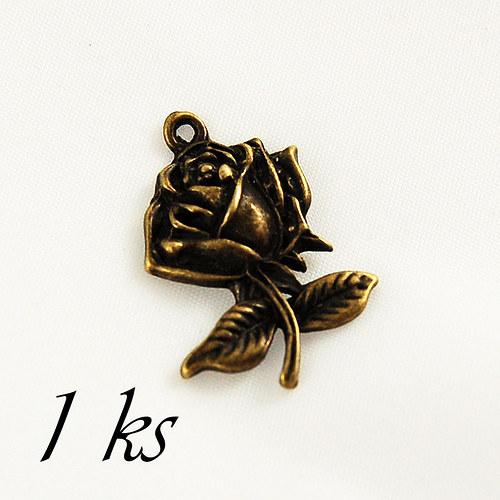 Růže, bronzová barva - 1ks
