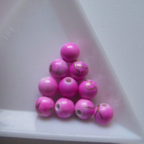 akrylové korálky, žíhané / 6mm / růžové /  20 ks