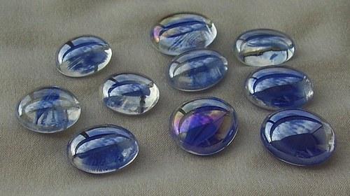10 ks nugetků-sklo tm.modrá tulip pokov BA - 010
