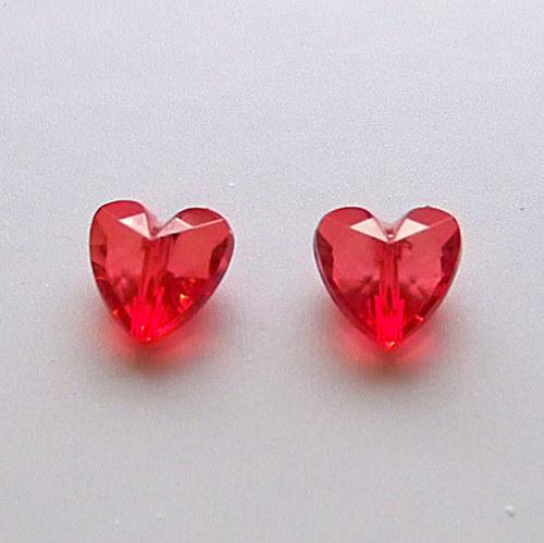 akrylové  srdíčko/ červené/ 12mm/ 4ks