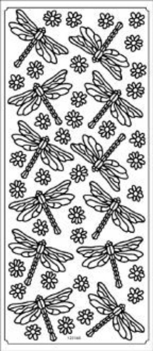 Stříbrné samolepky - vážky a kytičky