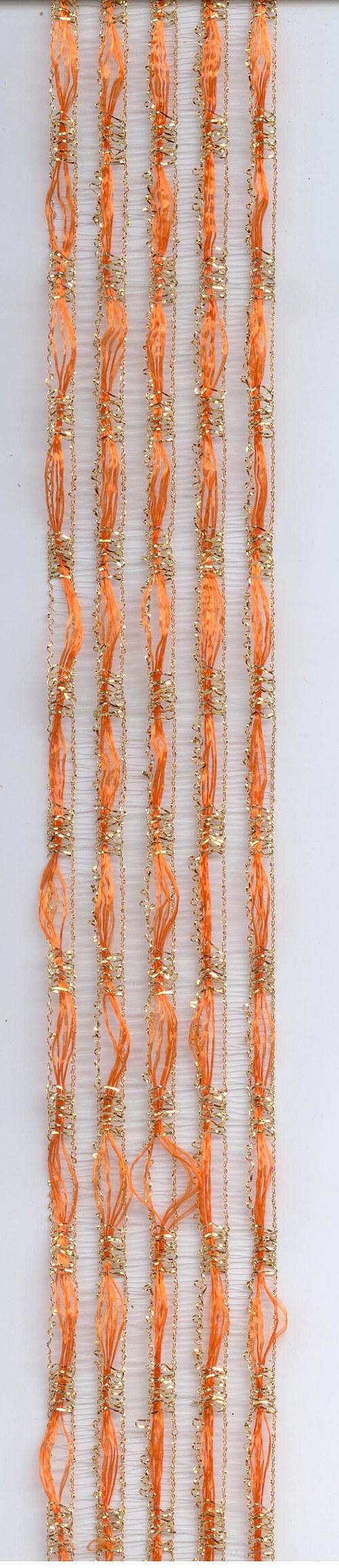 Stuha oranžová se zlatými nitěmi