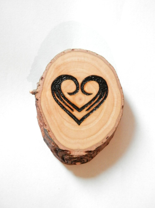 Dřevěný koláč 4 - srdíčko