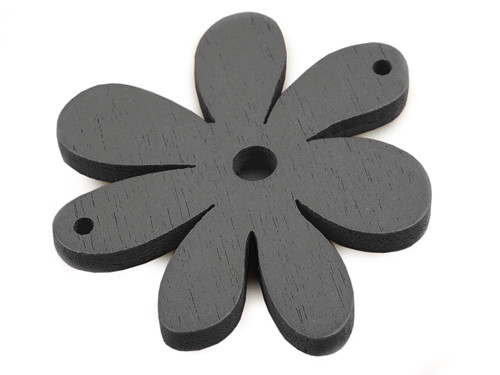 Dřevěný výsek 35x40mm květinka - šedé (2ks)