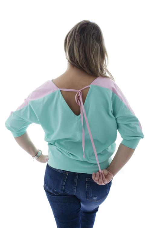 Ružovo-mätové tričko