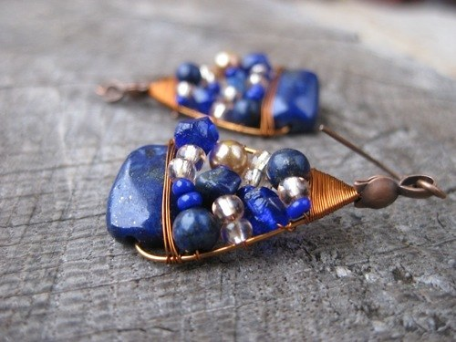 Vesmír - náušnice s polodrahokamy (lapis lazuli)