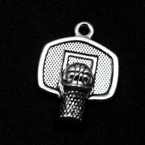 Přívěsek - baketbalový koš s míčřem, 1 ks