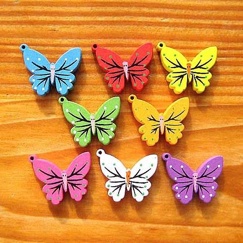 Dřevěný Motýl - 2ks - Červený